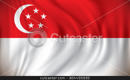 Flag of Singapore stock vector clipart, Flag of Singapore - vector illustration by ojal_2
