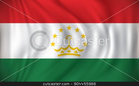 Flag of Tajikistan stock vector clipart, Flag of Tajikistan - vector illustration by ojal_2