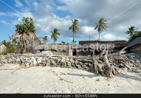 indonesian house - shack on beach stock photo, traditional indonesian poor house - cabin on beach, Nusa Penida Island, Toyapakeh by Artush