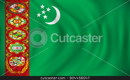 Flag of Turkmenistan stock vector clipart, Flag of Turkmenistan - vector illustration by ojal_2
