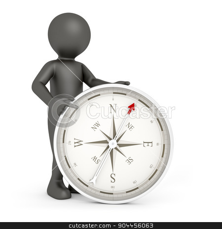 man and compass stock photo, An image of a rendered black man pointing to a compass by Markus Gann
