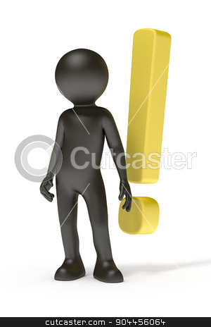 exclamation mark stock photo, An image of a black man and a yellow exclamation mark by Markus Gann