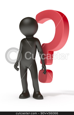 red question mark stock photo, An image of a black man with a red question mark by Markus Gann
