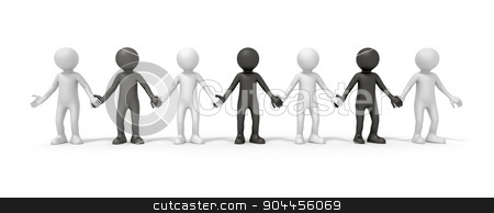 diversity stock photo, The diversity symbolized with some black and white people hand in hand by Markus Gann
