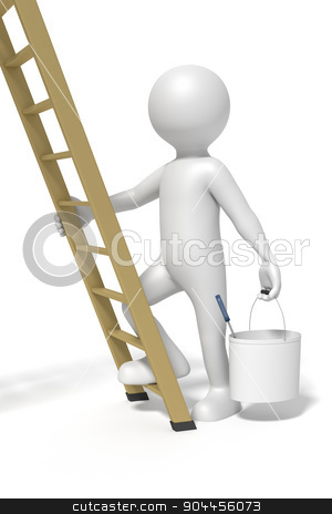 man and ladder stock photo, An image of a man and a ladder doing redecoration by Markus Gann