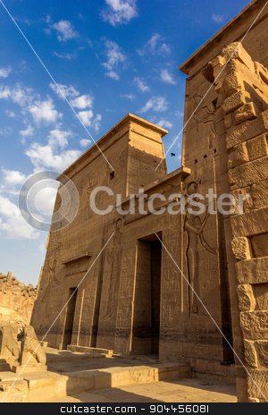 philae temple pylon stock photo, a vertical view of the entrance of the temple of Philae, Egypt by Noelia