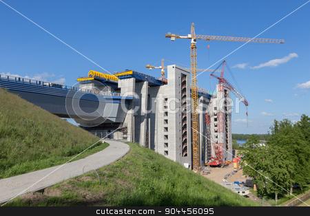 Cranes at construction site stock photo, High Cranes at the construction site for the ship lift in Niederfinow by Bernd Kröger