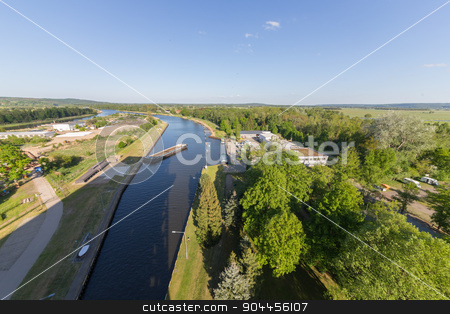 Niederfinow landscape stock photo, View from the ship lift in the countryside around Niederfinow by Bernd Kröger