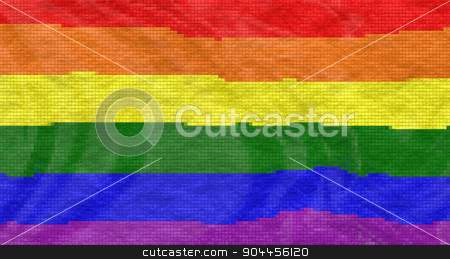LGBT Flag With Tiles Effect stock photo, 3D rendered image of LGBT flag with tiles effect. by Maribor