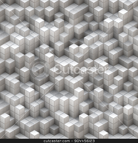 White Cubes Background stock photo, 2D rendered image simulating 3D cubes. by Maribor