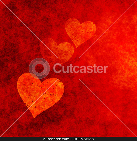 Red Hearts Background With Grungy Effect. stock photo, 2D rendered image. Red hearts background with grungy effect. by Maribor