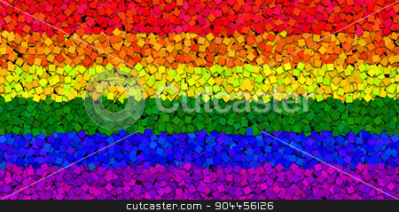 LGBT Flag With Paint Chips Effect stock photo, 2D rendered image of LGBT flag with paint chips effect. by Maribor