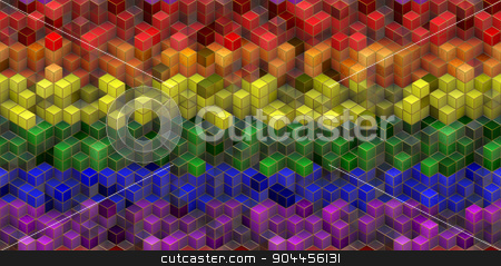 LGBT Flag With Cubes Effect stock photo, 2D rendered image of LGBT flag with cubes effect. by Maribor
