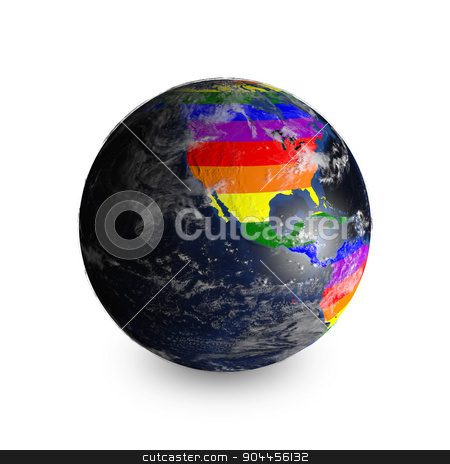 Earth On White Background. Continents Colored In LGBT Colors. Elements of this image furnished by NASA stock photo, 3D rendered image. Earth On White Background. Continents Colored In LGBT Colors.  by Maribor