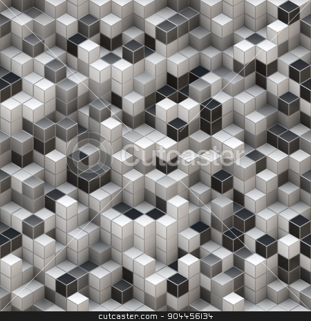White And Black Cubes Background stock photo, 2D rendered image simulating 3D cubes. by Maribor