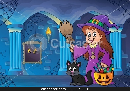 Cute witch and cat in haunted castle stock vector clipart, Cute witch and cat in haunted castle - eps10 vector illustration. by Klara Viskova
