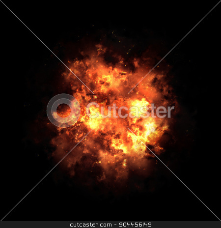 Fire ball isolated on black background stock photo, 2D rendered image of fire explosion by Maribor