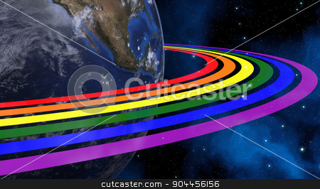 Earth From Space With Rainbow Rings. Continents Colored In LGBT Colors. Elements of this image furnished by NASA stock photo, 3D rendered image. Earth From Space. Continents Colored In LGBT Colors. by Maribor