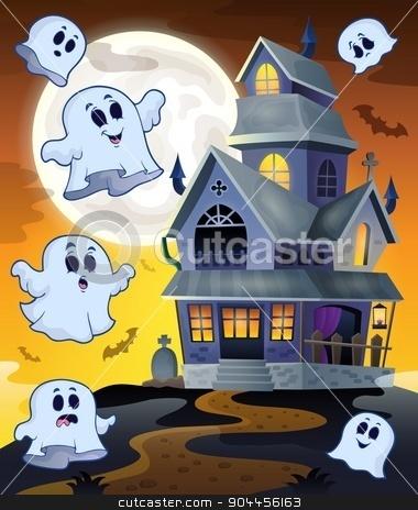 Ghosts flying around haunted house stock vector clipart, Ghosts flying around haunted house - eps10 vector illustration. by Klara Viskova