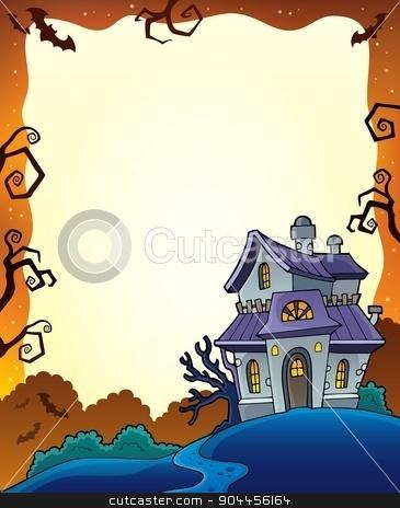 Halloween frame with haunted house 1 stock vector clipart, Halloween frame with haunted house 1 - eps10 vector illustration. by Klara Viskova