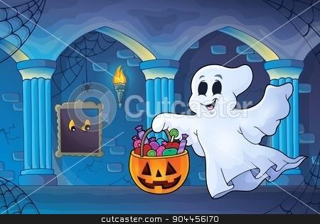 Halloween ghost in haunted castle stock vector clipart, Halloween ghost in haunted castle - eps10 vector illustration. by Klara Viskova