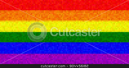 LGBT Flag With Mosaic Effect stock photo, 2D rendered image of LGBT flag with mosaic effect. by Maribor