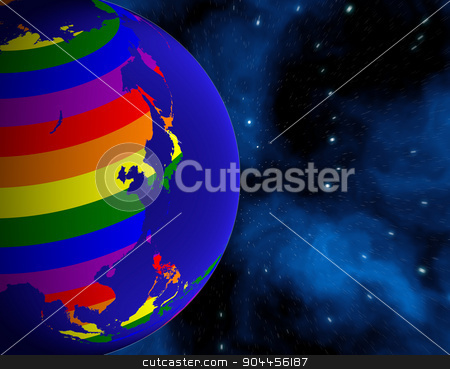 Earth From Space. Continents Colored In LGBT Colors. Elements of this image furnished by NASA stock photo, 3D rendered image. Earth From Space. Continents Colored In LGBT Colors. by Maribor