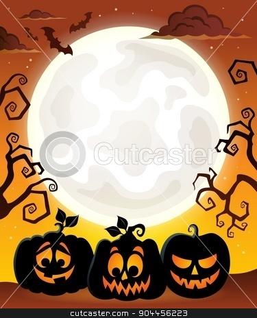Moon with Halloween pumpkin silhouettes stock vector clipart, Moon with Halloween pumpkin silhouettes - eps10 vector illustration. by Klara Viskova