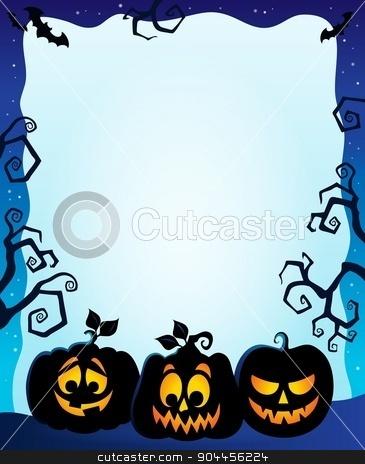 Night frame with pumpkin silhouettes stock vector clipart, Night frame with pumpkin silhouettes - eps10 vector illustration. by Klara Viskova