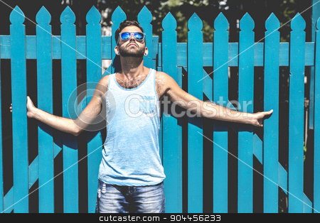 Hipster men stock photo, A Hipster men on the street on a city by Louis-Paul St-Onge