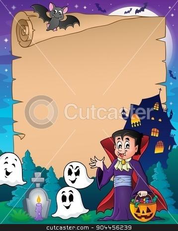 Parchment with Halloween vampire stock vector clipart, Parchment with Halloween vampire - eps10 vector illustration. by Klara Viskova