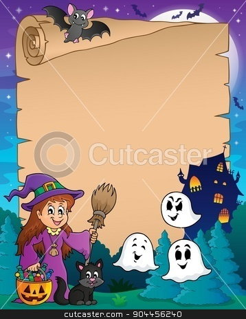 Parchment with cute witch and cat stock vector clipart, Parchment with cute witch and cat - eps10 vector illustration. by Klara Viskova