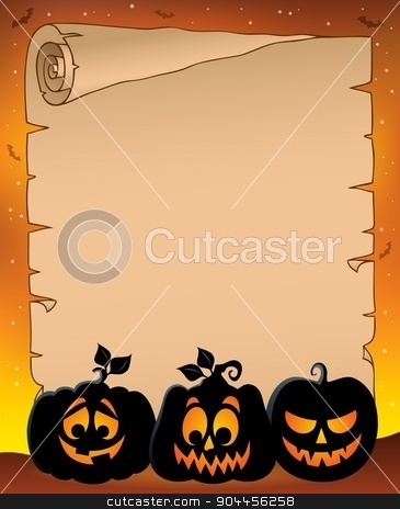 Parchment with pumpkin silhouettes 1 stock vector clipart, Parchment with pumpkin silhouettes 1 - eps10 vector illustration. by Klara Viskova