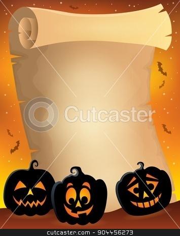Parchment with pumpkin silhouettes 2 stock vector clipart, Parchment with pumpkin silhouettes 2 - eps10 vector illustration. by Klara Viskova
