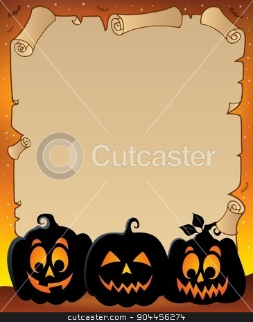Parchment with pumpkin silhouettes 3 stock vector clipart, Parchment with pumpkin silhouettes 3 - eps10 vector illustration. by Klara Viskova
