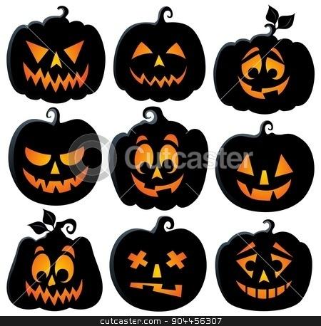 Pumpkin silhouettes theme set 2 stock vector clipart, Pumpkin silhouettes theme set 2 - eps10 vector illustration. by Klara Viskova