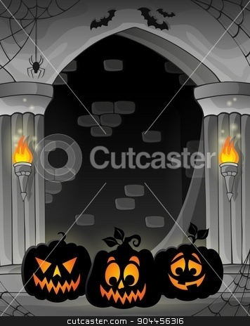 Stylized alcove with pumpkin silhouettes stock vector clipart, Stylized alcove with pumpkin silhouettes - eps10 vector illustration. by Klara Viskova