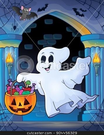 Wall alcove with Halloween ghost stock vector clipart, Wall alcove with Halloween ghost - eps10 vector illustration. by Klara Viskova