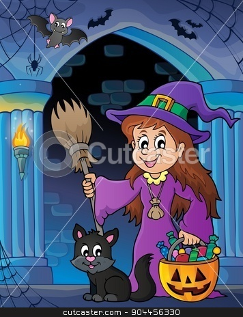 Wall alcove with cute witch and cat stock vector clipart, Wall alcove with cute witch and cat - eps10 vector illustration. by Klara Viskova