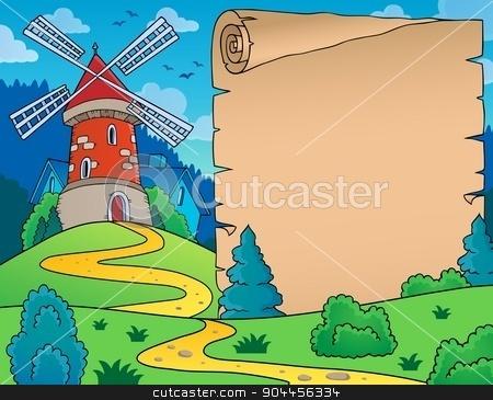 Windmill and parchment theme image stock vector clipart, Windmill and parchment theme image - eps10 vector illustration. by Klara Viskova