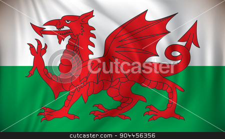 Flag of Wales stock vector clipart, Flag of Wales - vector illustration by ojal_2