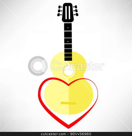 Classic Guitar stock vector clipart, Classic Guitar and Red Heart Isolated on White Background by valeo5