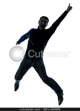 man happy jumping silhouette full length stock photo, one  man full length in silhouette studio isolated on white background by Ishadow