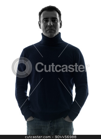 man mature serious silhouette portrait stock photo, one  man mature serious portrait in silhouette studio isolated on white background by Ishadow