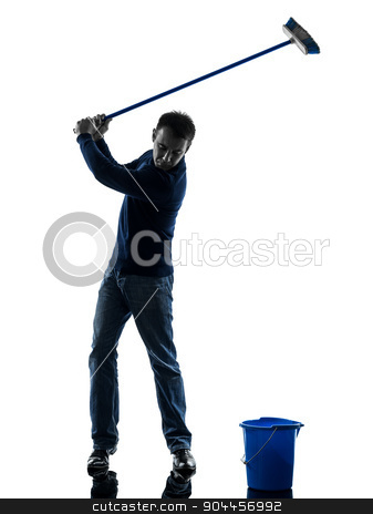 man janitor brooming cleaner golfing silhouette full length stock photo, one  man janitor brooming cleaner golfing full length in silhouette studio isolated on white background by Ishadow