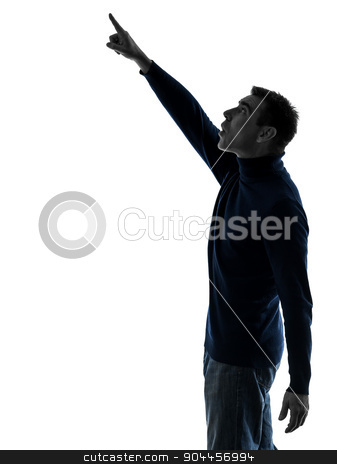 man pointing up surprised silhouette full length stock photo, one  man pointing up surprised full length in silhouette studio isolated on white background by Ishadow