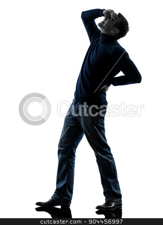 man backache pain silhouette full length stock photo, one  man full length in silhouette studio isolated on white background by Ishadow