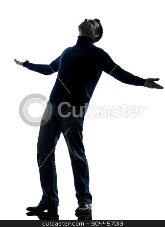 happy man looking up silhouette full length stock photo, one  happy man looking up full length in silhouette studio isolated on white background by Ishadow
