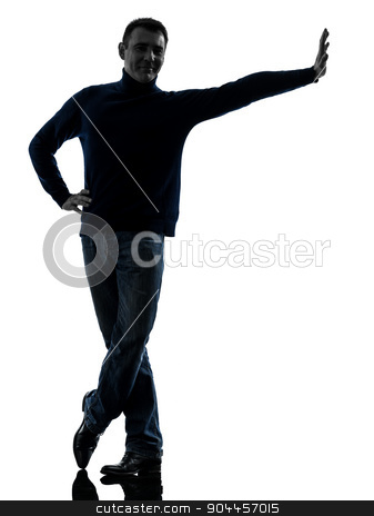man leaning smiling friendly silhouette full length stock photo, one  man leaning smiling friendly full length in silhouette studio isolated on white background by Ishadow