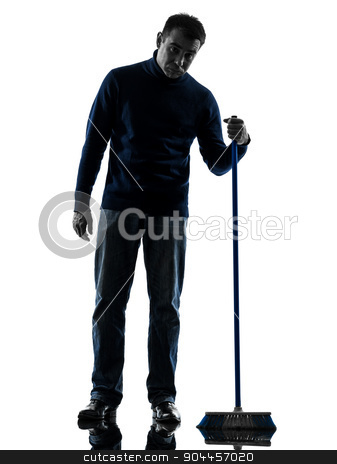 man janitor brooming cleaner boredom silhouette full length stock photo, one  man janitor brooming cleaner boredom full length in silhouette studio isolated on white background by Ishadow